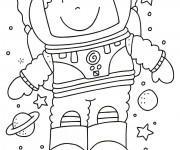 Coloriage et dessins gratuit Astronaute simple à imprimer