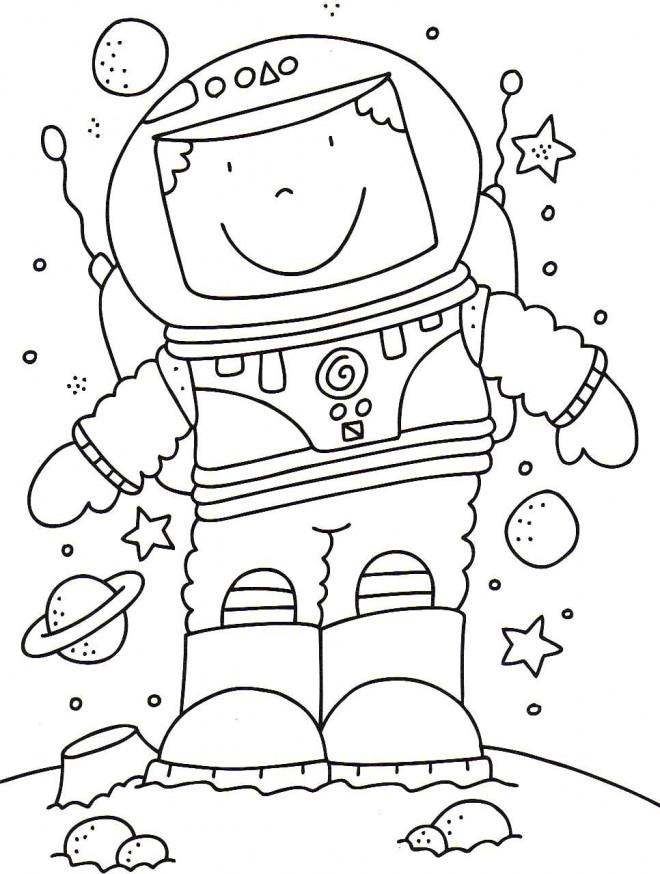 Coloriage et dessins gratuits Astronaute simple à imprimer