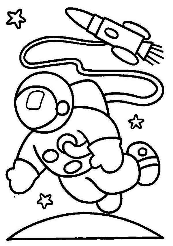 Coloriage et dessins gratuits Astronaute sort de son fusée à imprimer
