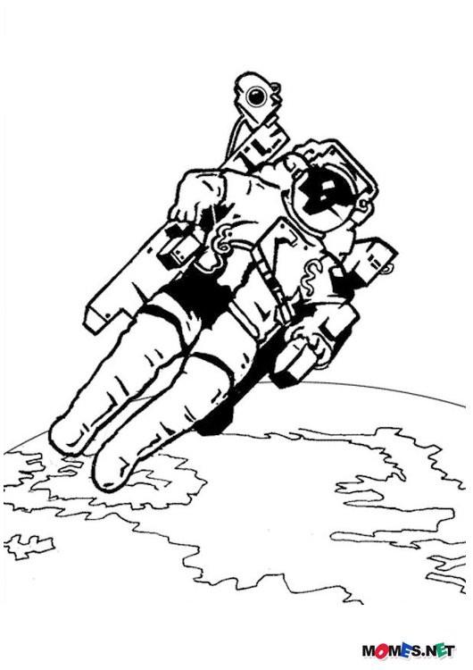 Coloriage et dessins gratuits Astronaute Terre à imprimer