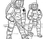 Coloriage Astronautes sur la lune