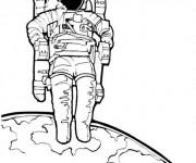 Coloriage et dessins gratuit Cosmonaute illustration vectorielle à imprimer