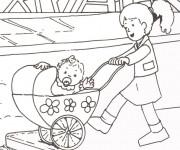 Coloriage et dessins gratuit Bébé dans sa poussette à imprimer