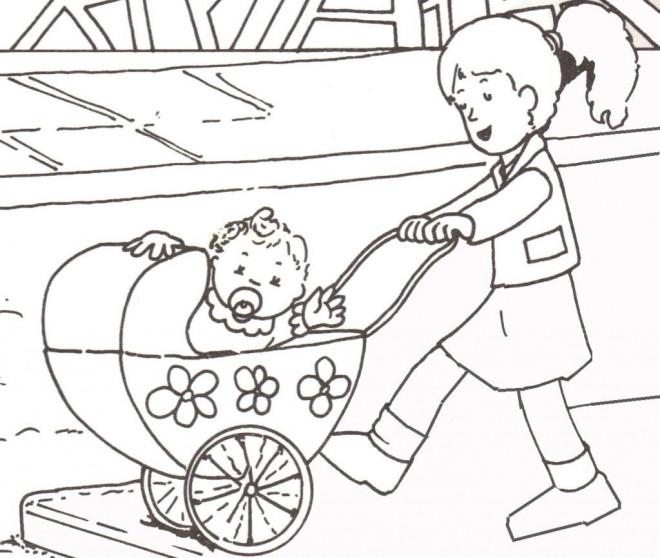 Coloriage Bébé Dans Sa Poussette Dessin Gratuit à Imprimer