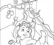 Coloriage Bébé dans son lit