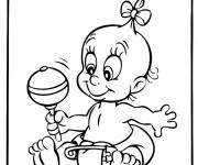 Coloriage et dessins gratuit Bébé en jouant à imprimer
