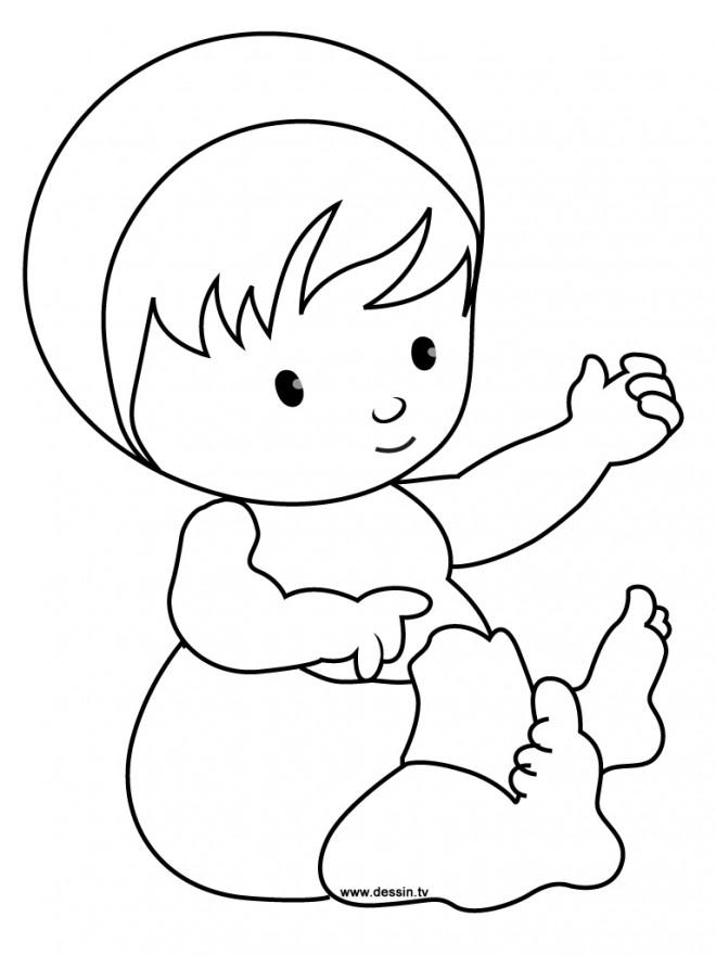 Coloriage et dessins gratuits Bébé en jouant avec ses mains à imprimer