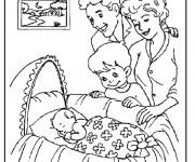 Coloriage Bébé et la famille