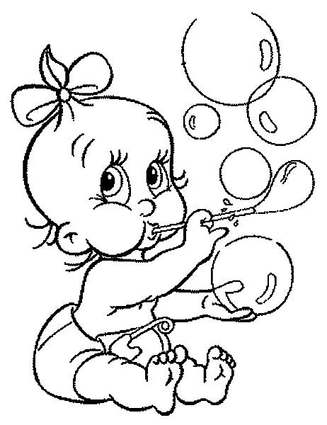 Coloriage et dessins gratuits Bébé et les bulles à imprimer