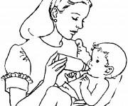 Coloriage Bébé et Maman