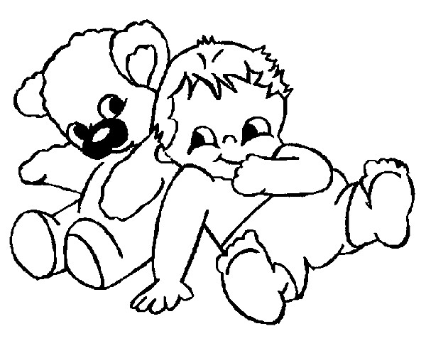 Coloriage et dessins gratuits Bébé et peluche ours à imprimer