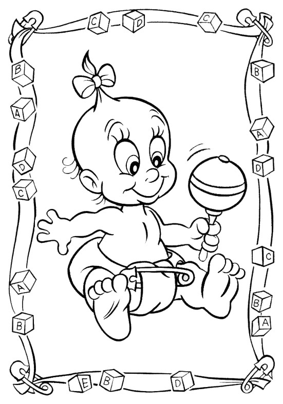 Coloriage et dessins gratuits Bébé fille en jouant à imprimer