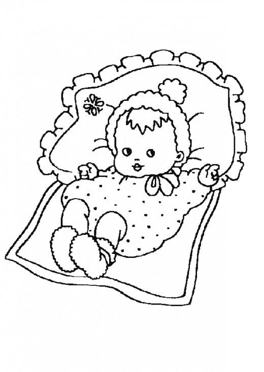 Coloriage et dessins gratuits Bébé fille sur le lit à imprimer