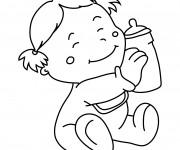 Coloriage Bébé heureuse en portant son biberon