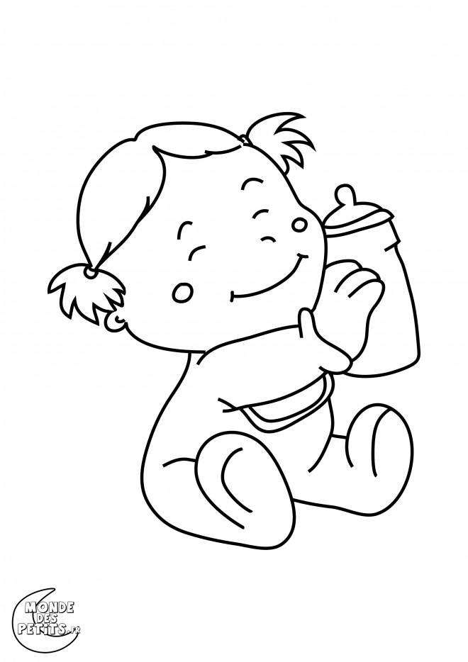 Coloriage et dessins gratuits Bébé heureuse en portant son biberon à imprimer