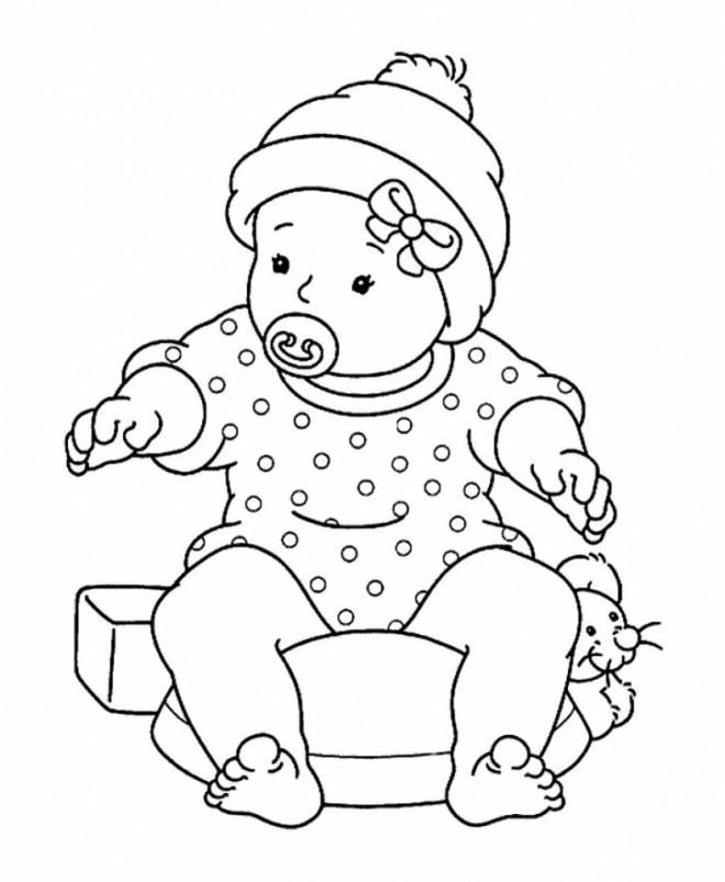 Coloriage et dessins gratuits Bébé porte un bonnet à imprimer