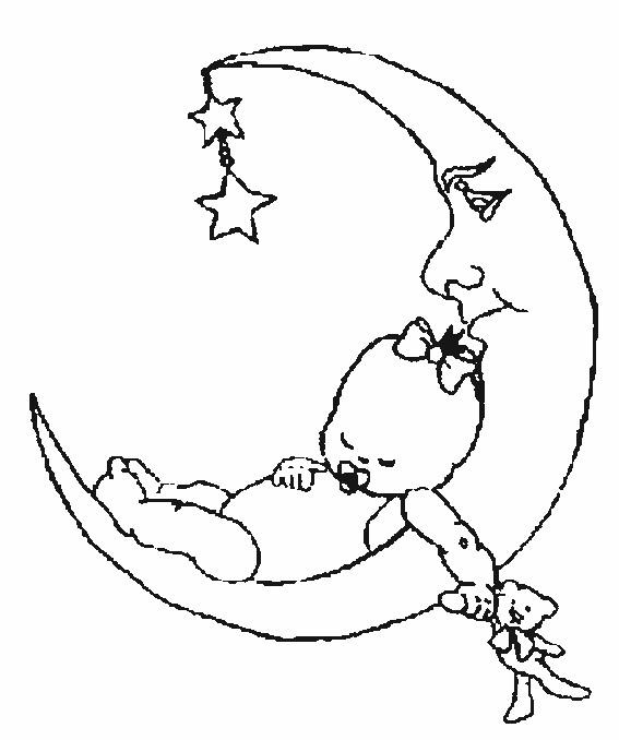 Coloriage et dessins gratuits Bébé sur la lune à imprimer