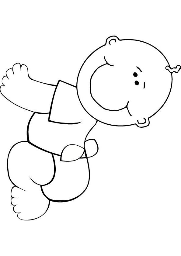 Coloriage et dessins gratuits Bébé tout en souriant à imprimer