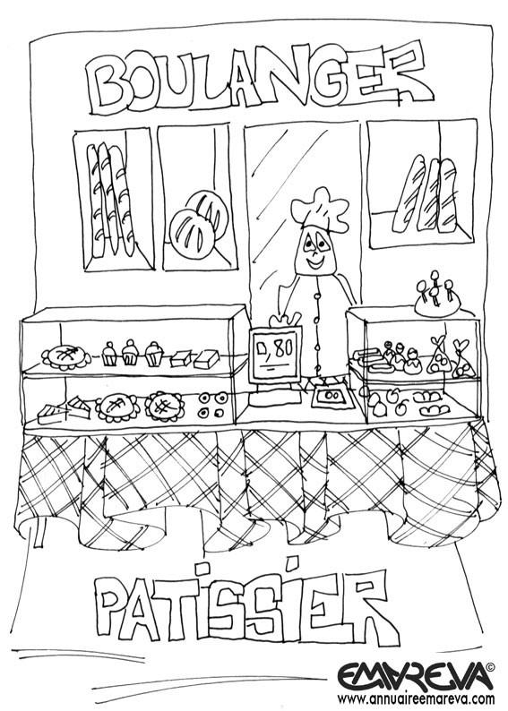 Coloriage et dessins gratuits A La Boulangerie à imprimer
