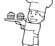 Coloriage Boulanger avec gâteaux