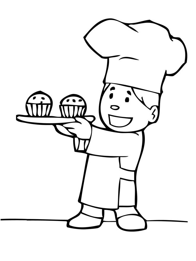Coloriage et dessins gratuits Boulanger avec gâteaux à imprimer