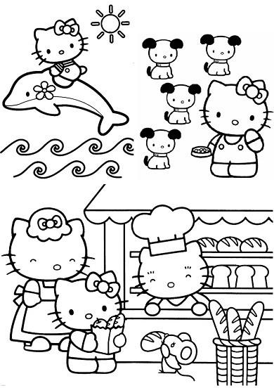 Coloriage et dessins gratuits Hello Kitty chez le boulanger à imprimer