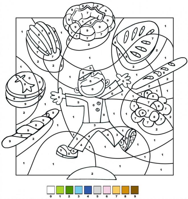 Coloriage et dessins gratuits L'enfant et les aliments à imprimer