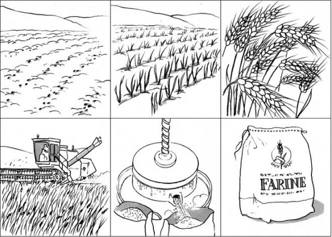 Coloriage et dessins gratuits La transformation du blé en pain à imprimer