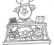 Coloriage Le boulanger a la patisserie