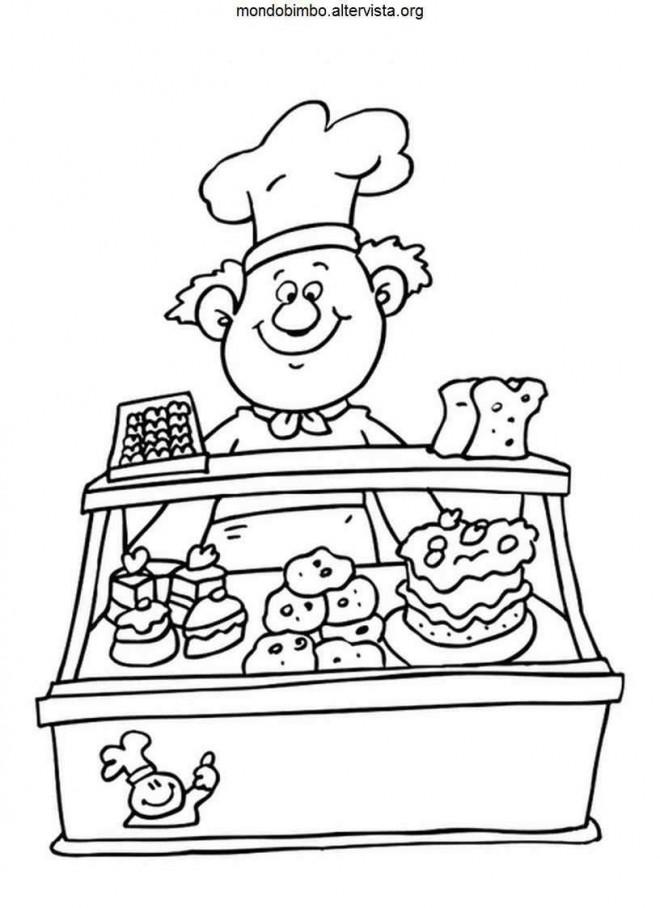 Coloriage et dessins gratuits Le boulanger a la patisserie à imprimer