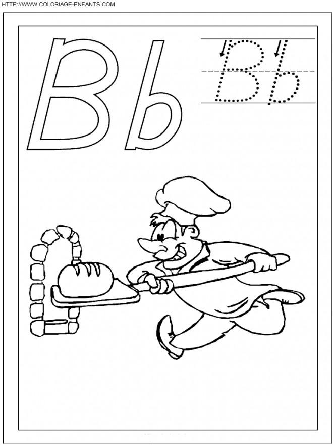 Coloriage et dessins gratuits Le boulanger enfourne du pain à imprimer