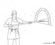 Coloriage et dessins gratuit Le boulanger et le four à pain à imprimer