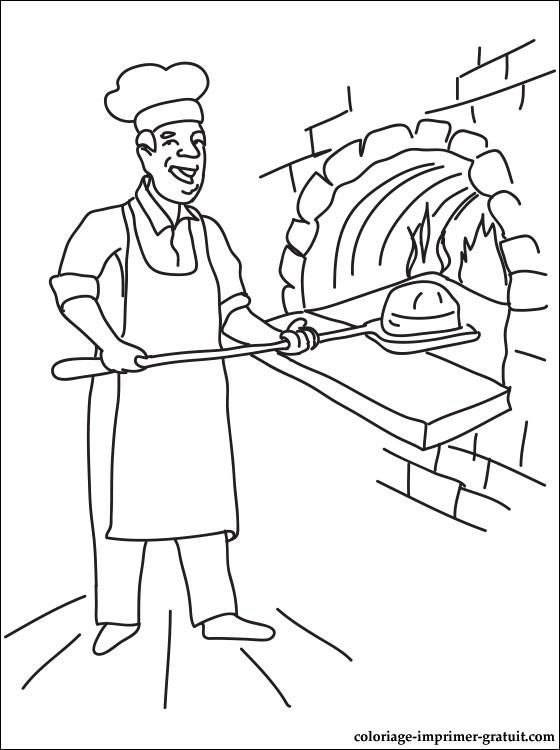 Coloriage Le Boulanger Met Le Pain Dans Le Foure Dessin Gratuit à