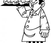 Coloriage et dessins gratuit Le boulanger prend le pain à imprimer
