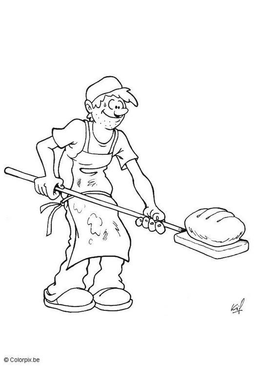 Coloriage et dessins gratuits le pain du  boulanger à imprimer