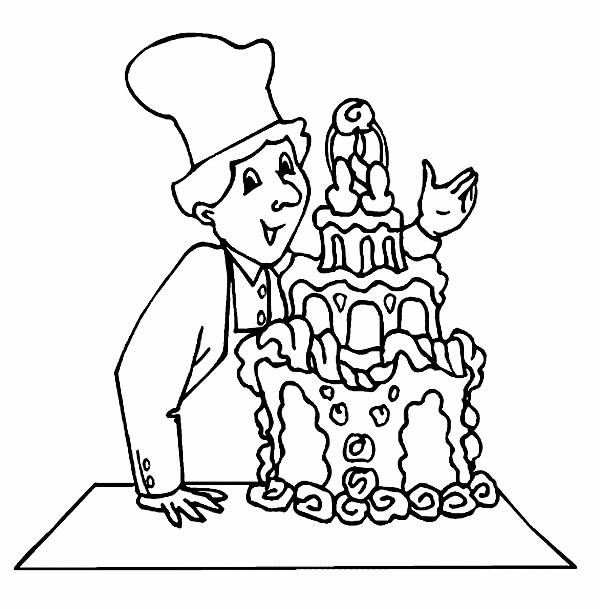 Coloriage et dessins gratuits Le pâtissier derrière un gâteau à imprimer