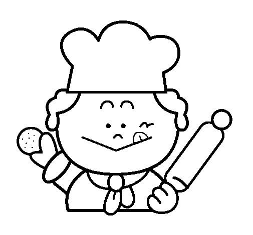 Coloriage le petit boulanger et le biscuit dessin gratuit - Dessin cuisinier humoristique ...