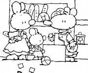 Coloriage et dessins gratuit Petit Lapin Blanc a la boulangerie à imprimer