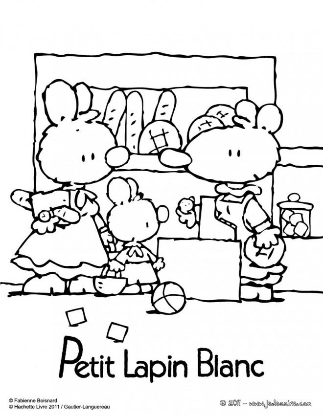 Coloriage et dessins gratuits Petit Lapin Blanc a la boulangerie à imprimer