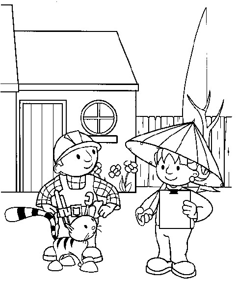 Coloriage et dessins gratuits Bob le bricoleur parle avec Zoé à imprimer