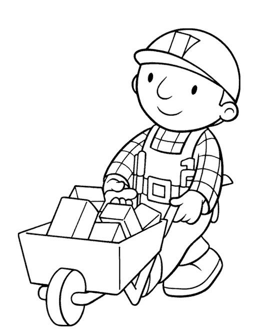 Coloriage et dessins gratuits Bob le bricoleur transporte ses outils à imprimer