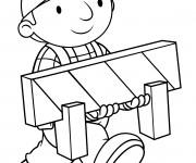 Coloriage et dessins gratuit Bob le bricoleur transporte une panneau à imprimer