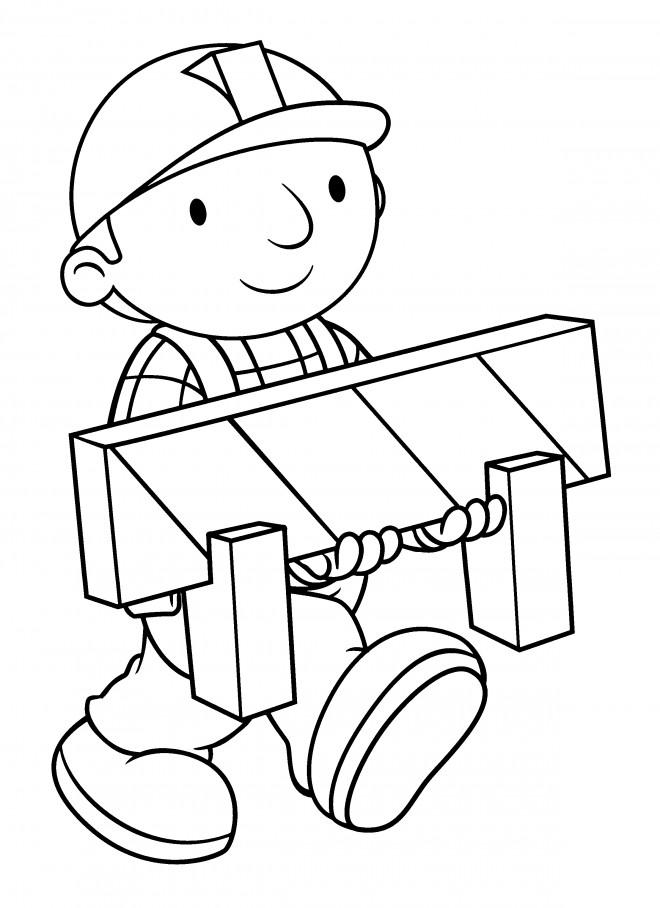 Coloriage et dessins gratuits Bob le bricoleur transporte une panneau à imprimer