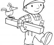 Coloriage et dessins gratuit Bob le bricoleur utilise du bois à imprimer