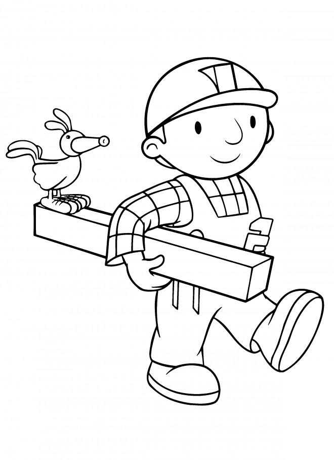 Coloriage et dessins gratuits Bob le bricoleur utilise du bois à imprimer