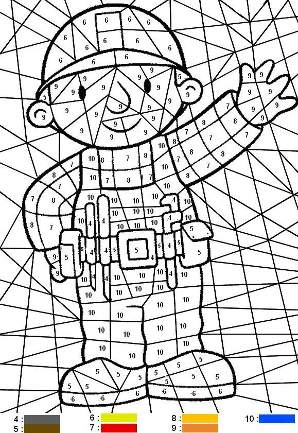 Coloriage et dessins gratuits Bricoleur numéroté magique à imprimer