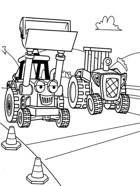 Coloriage et dessins gratuits Bulldozer avec Visage à imprimer