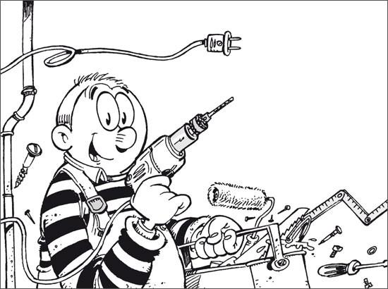 Coloriage et dessins gratuits Le Bricoleur humoristique à imprimer