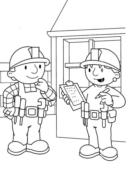 Coloriage et dessins gratuits Scène de Bob Le  Bricoleur à imprimer