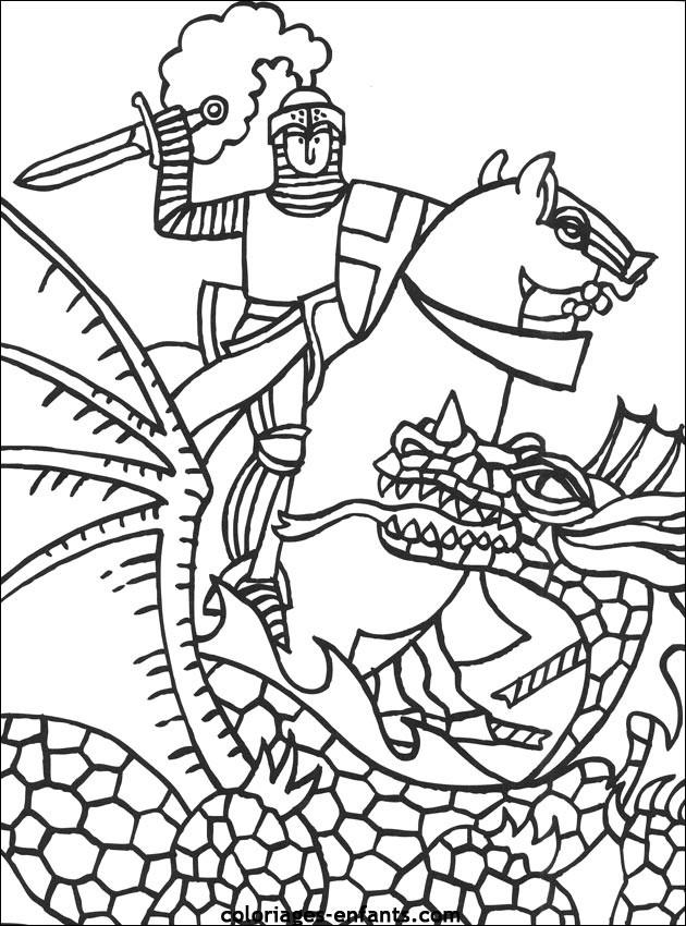 Coloriage et dessins gratuits Bataille entre chevalier et Dragon à imprimer